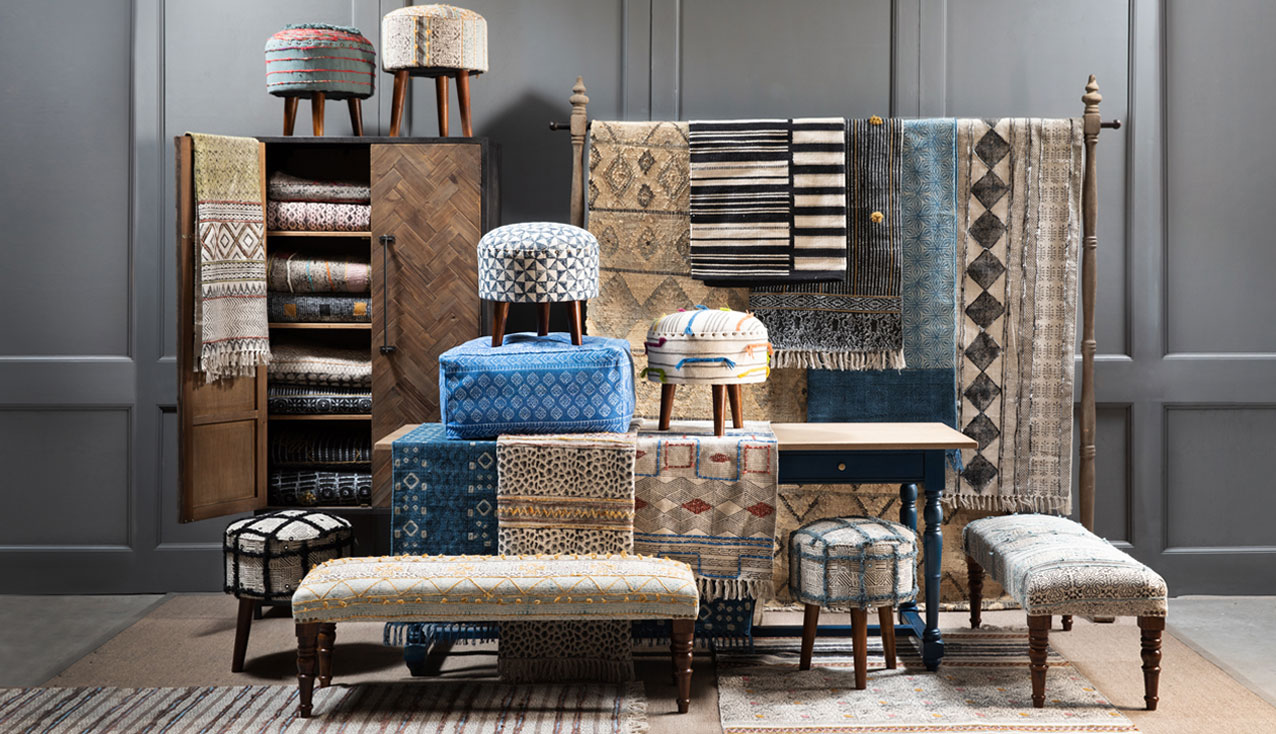 Rugs, textiles, stools and ottomans