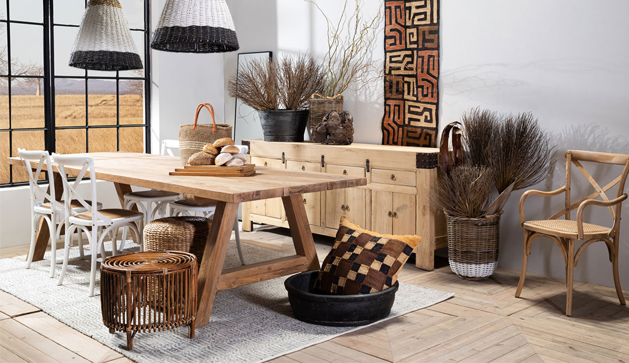 African textures, natural living decor and furniture