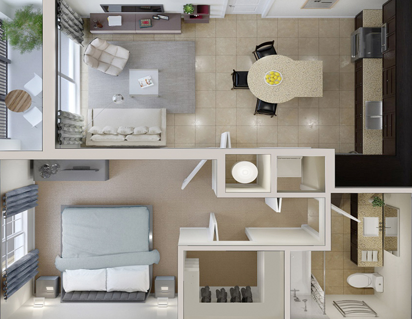 small home interiors flat plan