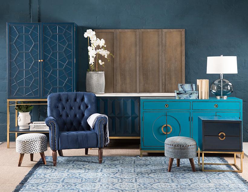 Blue Oriental scene, furniture, lounge, blue decor