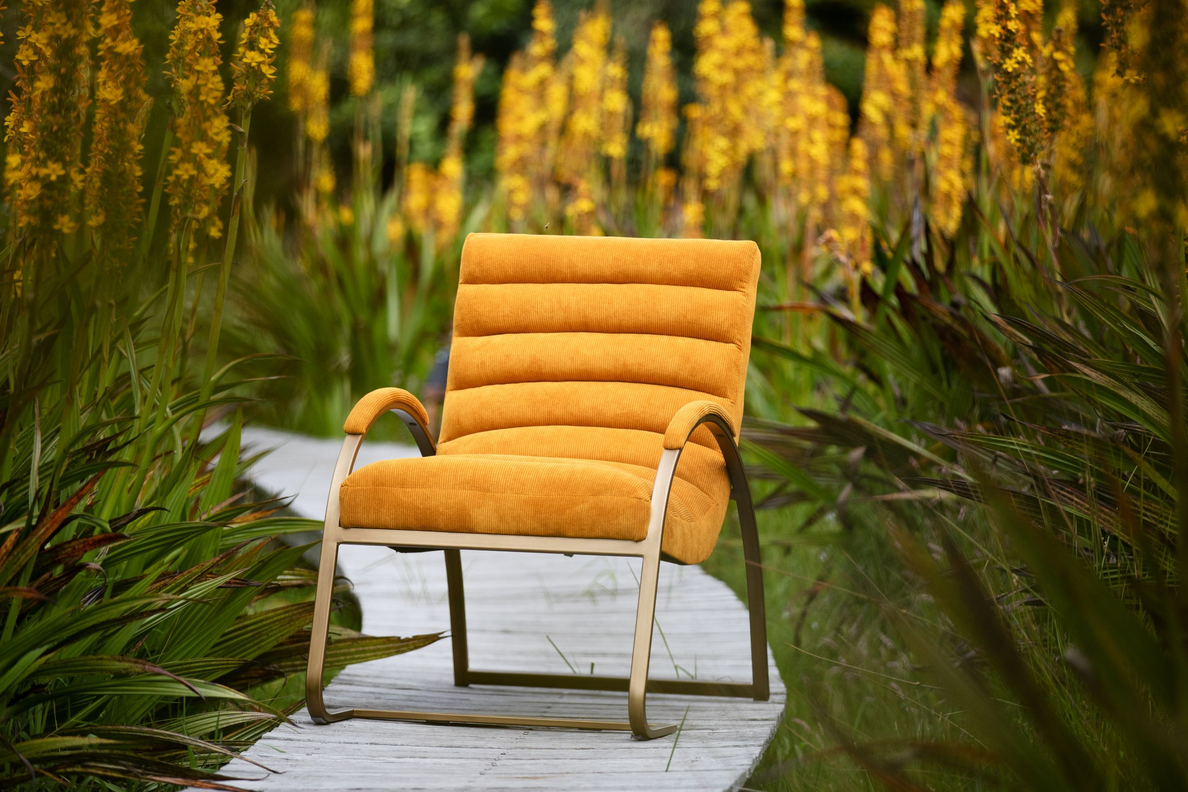 Gold metal framed chair upholstered in orange cord fabric.