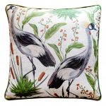 Block & Chisel bird nature print in green cushion