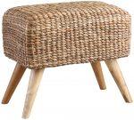 Block & Chisel rectangular woven water hyacinth stool with teak wood legs