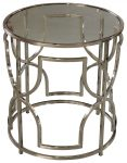 Block & Chisel stainless steel side table with glass top