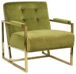 Block & Chisel green upholstered velvet occasional chair with stainless steel legs