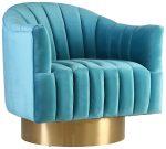 Block & Chisel aqua velvet upholstered occasional chair