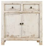 Block & Chisel oriental off white 2 door bedside table with draw