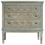 Block & Chisel blue distressed french inspired 3 drawer chest