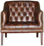 Block & Chisel brown leather button tufted armchair