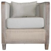 Block & Chisel square two-tone linen upholstered chair with wooden frame
