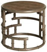 Block & Chisel round wooden stool with iron base