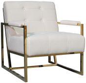 Block & Chisel cream upholstered velvet occasional chair with stainless steel legs