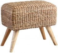 Block & Chisel rectangular woven water hyacinth stool with teak wood legs