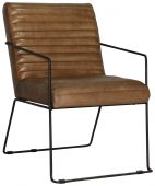 Block & Chisel brown goat leather upholstered dining chair with iron frame