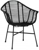 Block & Chisel black rattan armchair with black metal legs