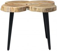 Block & Chisel acacia wood side table with matt black metal legs