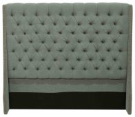 Block & Chisel grey upholstered button tufted queen size headboard