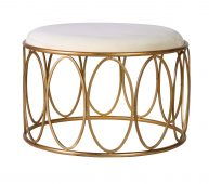 Nadine Stool with oval details in metal base with white velvet top