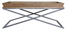 Block & Chisel metal and wood tray top coffee table