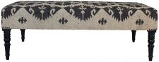 Block & Chisel black and cream wool and Jute upholstered bench