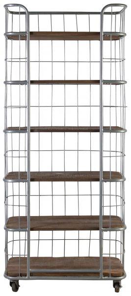 Block Chisel Bookshelf With Metal Frame And Wooden Shelves On Castors