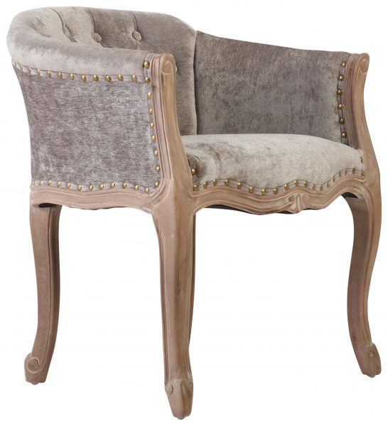 Block U0026 Chisel Grey Upholstered Boudoir Styled Occasional Chair ...