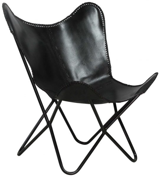 Block U0026 Chisel Black Buffalo Leather Chair With Iron Frame ...