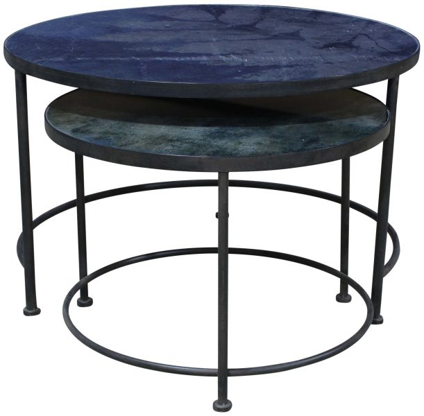 Block Chisel Round Nesting Coffee Table With Glass Top And Iron Base