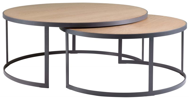 Block Chisel Round Weathered Oak Nested Coffee Table With Matt Black