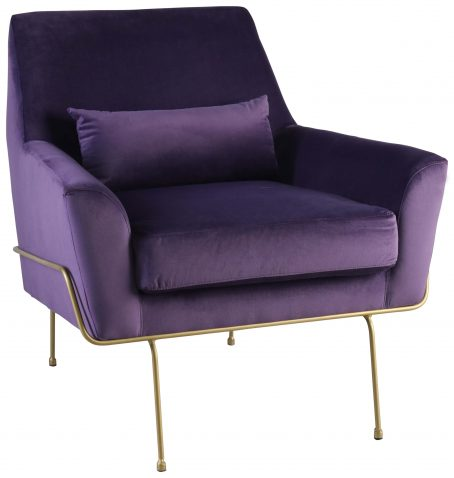 Block & Chisel purple upholstered occasional chair with gold coated metal legs