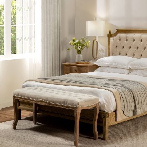 Tufted french style bed end, cream in colour