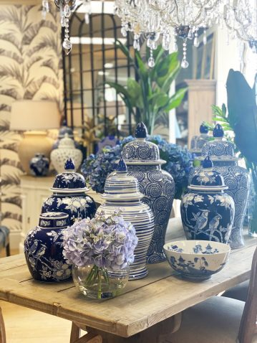 Blue and white ceramic jar with bird print