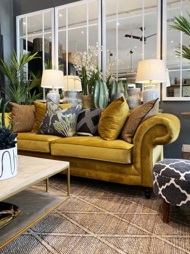 chesterfield sofa in gold velvet