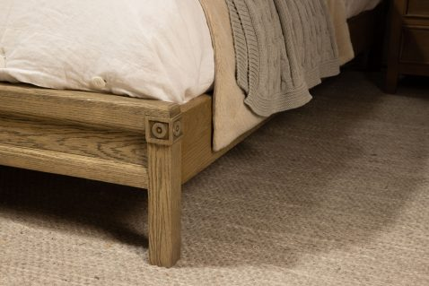 block and chisel full bed with button detail and oak frame