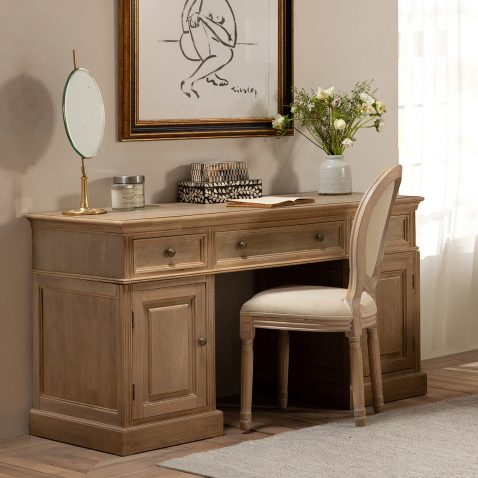 office desk with drawers and cupboards in teak