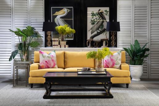 Block & Chisel ochre upholstered sofa