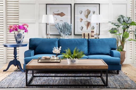 Block & Chisel natural blue jute carpet