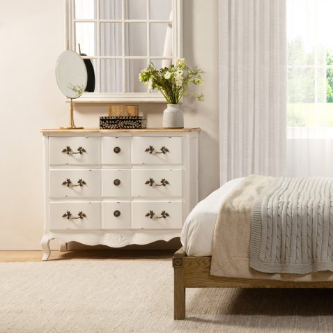 French style bedside with 3 drawers