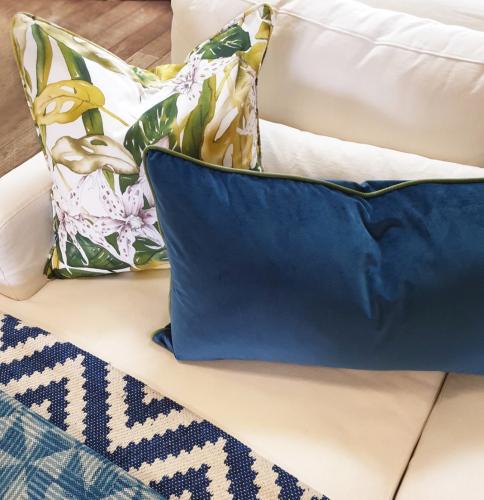 navy blue velvet oblong cushion