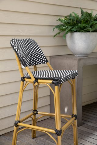 black and white checkered parisian french cafe barstool
