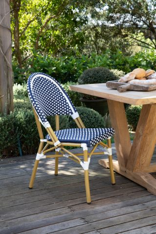 blue and white checkered parisian french cafe dining chair