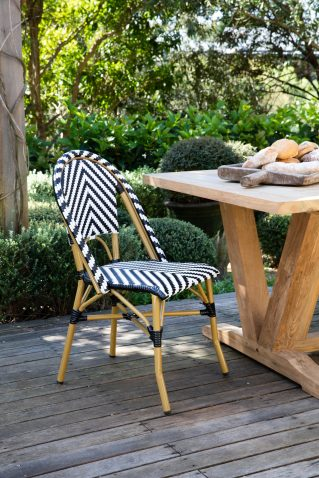 black and white stripe parisian french cafe dining chair
