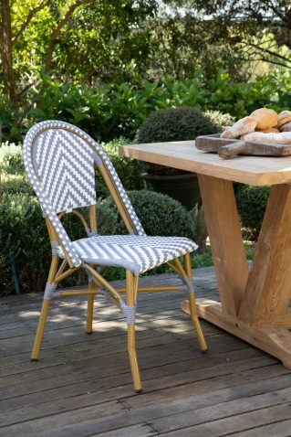 grey and white stripe parisian french cafe dining chair
