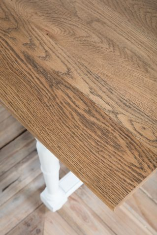 Block and chisel dining table antique white weathered oak