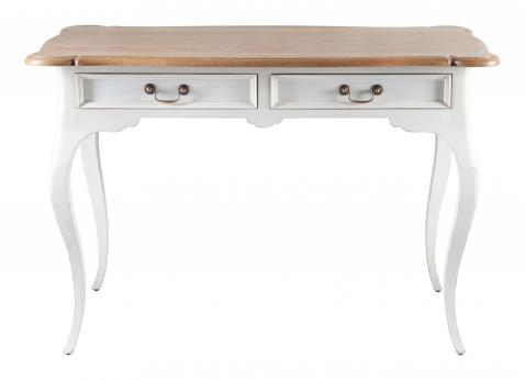 Block & Chisel cabriole leg writing table with scalloped top and white base