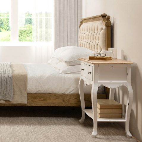 French style bedside with 1 drawer and bottom shelf