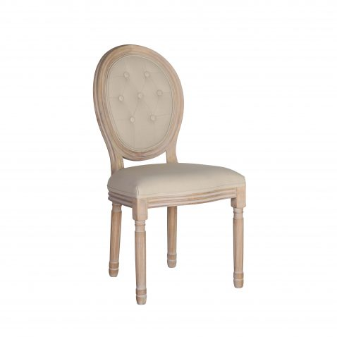 Classic French cream dining chair with tufted detail