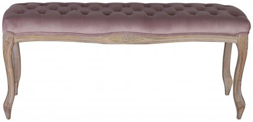 Block & Chisel mink velvet upholstered bed end with rubber wood legs