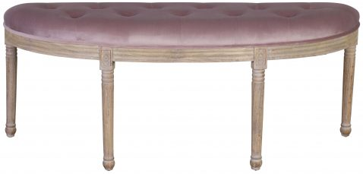 Block & Chisel mink velvet upholstered bedend with rubber wood legs