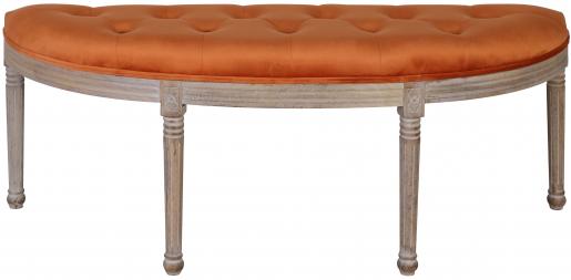 Block & Chisel orange velvet upholstered bedend with rubber wood legs